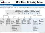 combiner ordering table