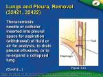 lungs and pleura removal 32421 32422
