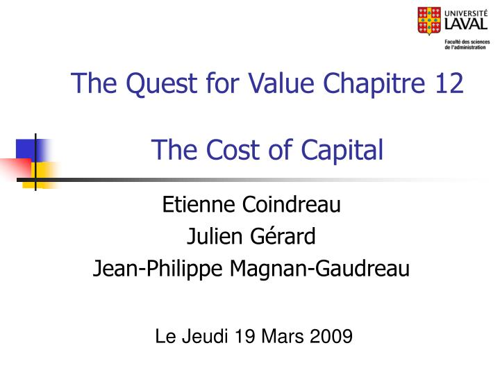 the quest for value chapitre 12 the cost of capital n.