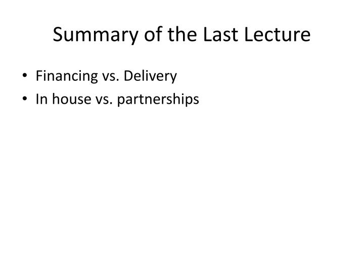 summary of the last lecture n.
