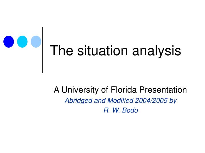 the situation analysis n.