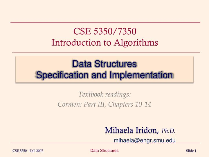 data structures specification and implementation n.