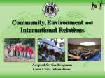 community environment and international relations