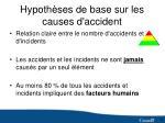 hypoth ses de base sur les causes d accident