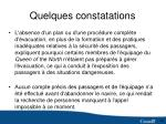 quelques constatations1