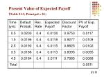 present value of expected payoff table 21 3 principal 1