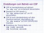 einstellungen zum betrieb von cdp