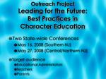 outreach project leading for the future best practices in character education