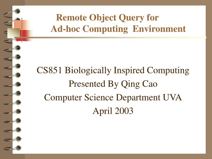 remote object query for ad hoc computing environment n.