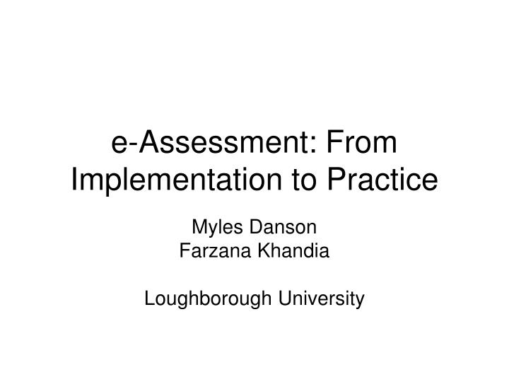e assessment from implementation to practice n.