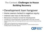 the context challenges to house building recovery