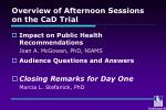 overview of afternoon sessions on the cad trial3