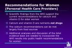 recommendations for women personal health care providers