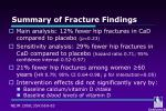 summary of fracture findings