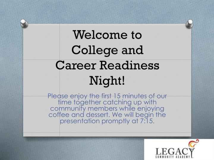 welcome to college and career readiness night n.
