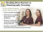 breaking down barriers to mammography screening