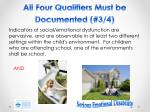 all four qualifiers must be documented 3 4