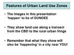 features of urban land use zones