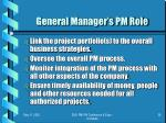 general manager s pm role