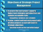 objectives of strategic project management