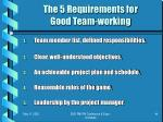 the 5 requirements for good team working