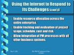 using the internet to respond to its challenges cont d