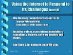 using the internet to respond to its challenges cont d1