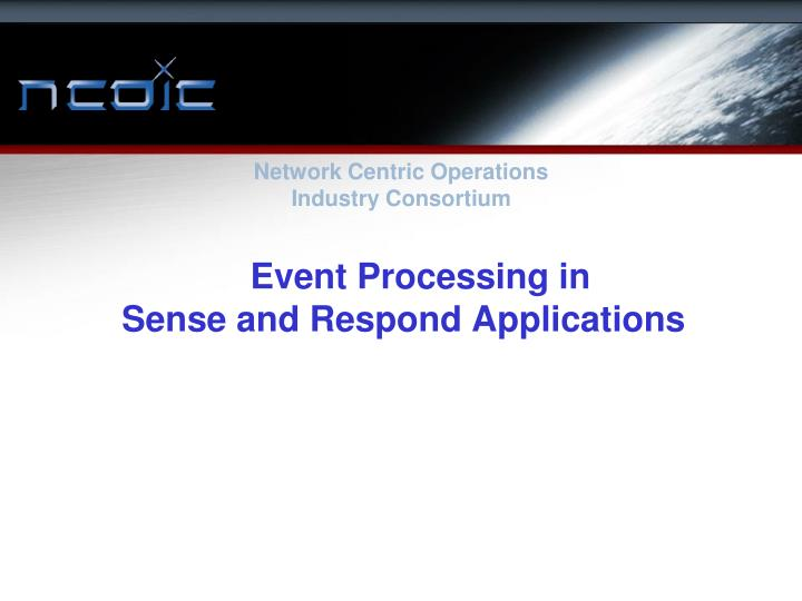 event processing in sense and respond applications n.