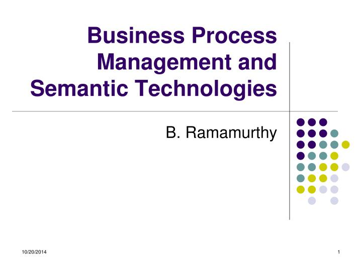 business process management and semantic technologies n.