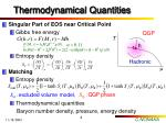 thermodynamical quantities