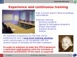experience and continuous training