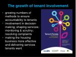 the growth of tenant involvement
