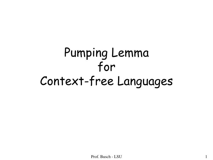 pumping lemma for context free languages n.