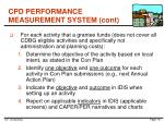 cpd performance measurement system cont
