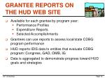 grantee reports on the hud web site