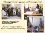 using a participatory approach tool climate proofing