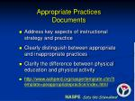 appropriate practices documents