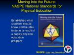 moving into the future naspe national standards for physical education