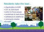 residents take the lead