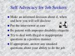 self advocacy for job seekers