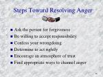 steps toward resolving anger