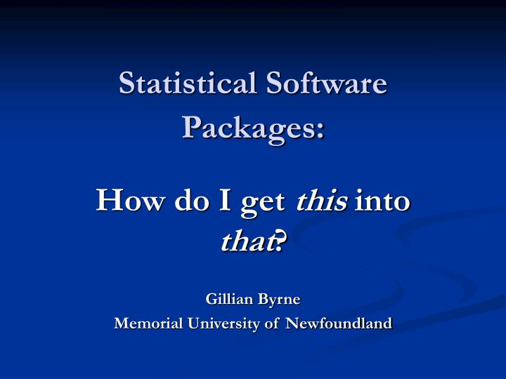 statistical software packages n.
