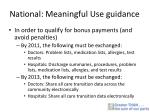 national meaningful use guidance