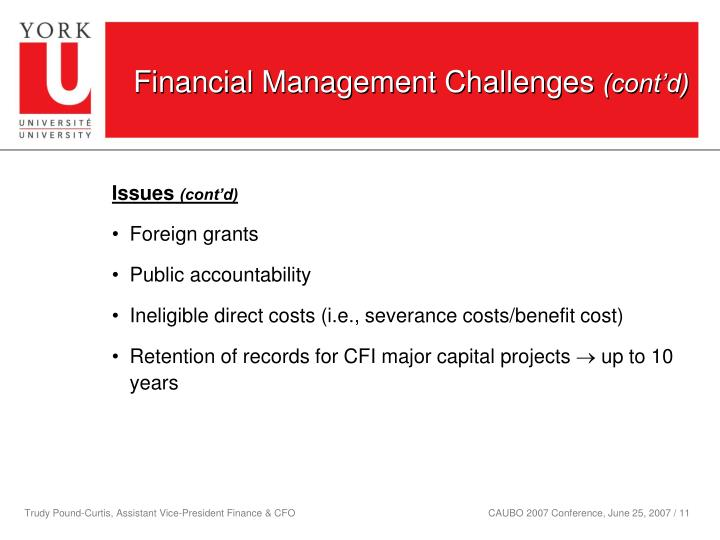 Financial Management Challenges