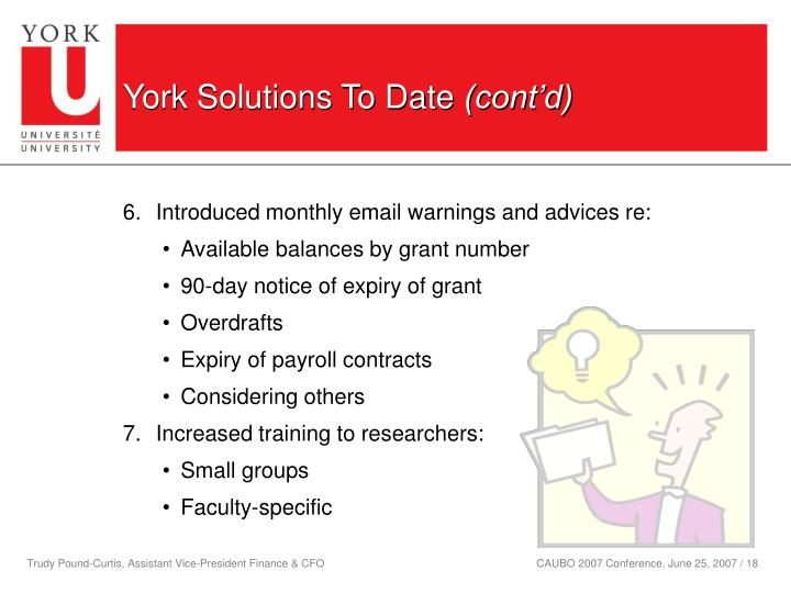 York Solutions To Date
