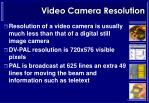 video camera resolution