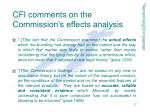 cfi comments on the commission s effects analysis