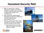 homeland security r d