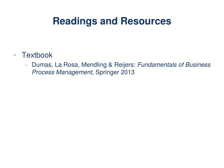 readings and resources n.