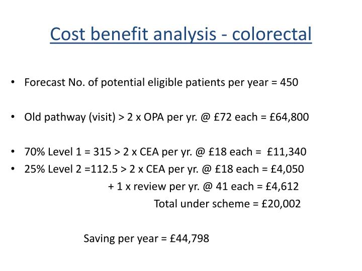 Cost benefit analysis - colorectal
